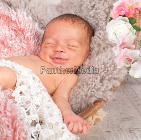 laughing newborn
