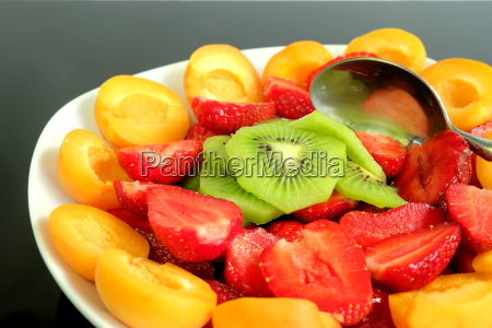 fruit salad with strawberries kiwi and