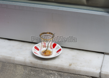 empty tea glass in istanbul