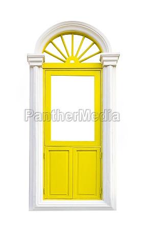 yellow classic window frame on white