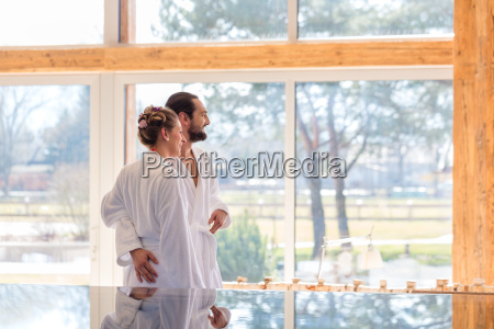 couple enjoying view on wellness spa