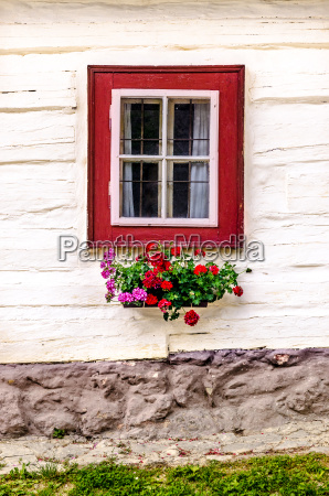 detail of colorful window on old