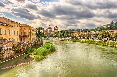 view over adige river in verona