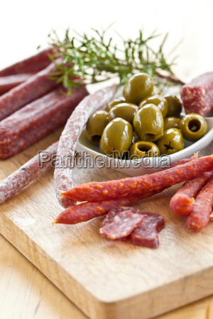 antipasti with salami and olives