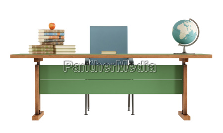 retro teachers desk on white