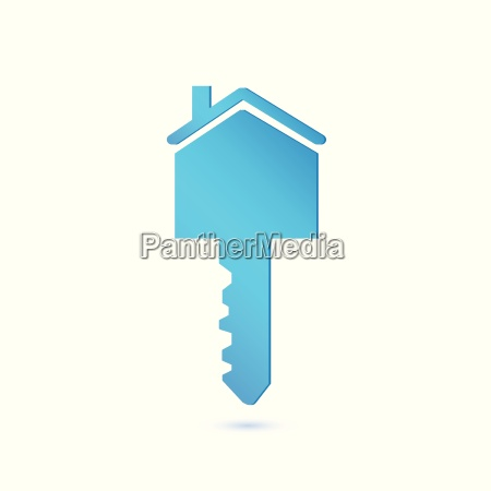 blue house key