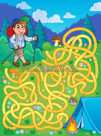 maze 1 with hiker outdoor
