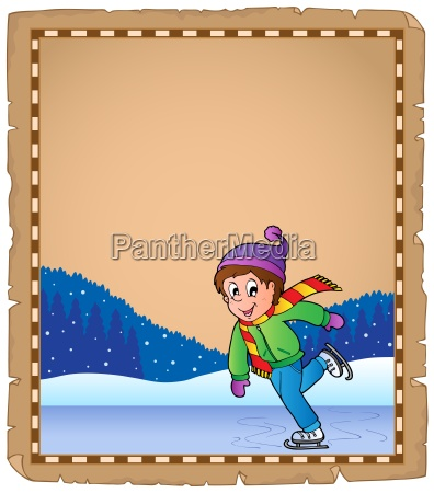 parchment with boy skating on ice