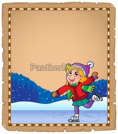 parchment with girl skating on ice