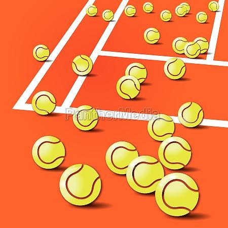 tennis balls tennis and tennis court
