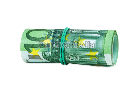 banknotes of 100 euro rolled with