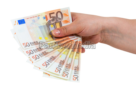 hand holding banknotes of 50 euros