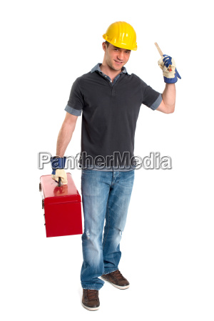 young man with tool case