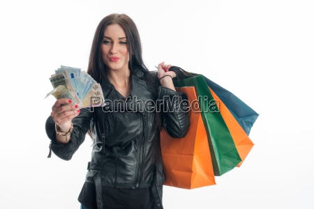 young woman in a buying frenzy