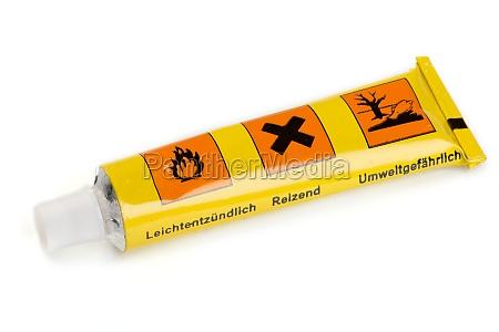 a yellow tube glue