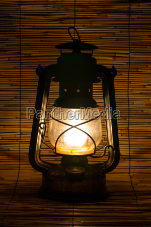 set with an old rusty lantern