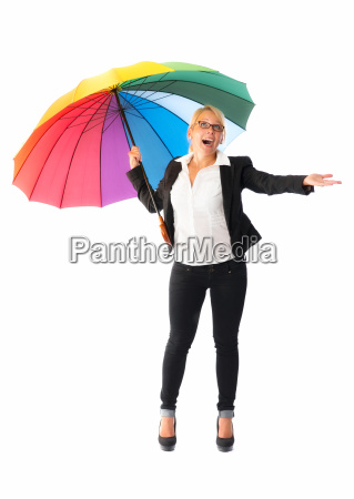 businesswoman with umbrella