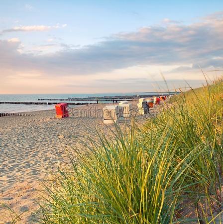 beach baskets in the evening light