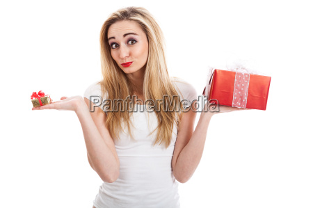 young attractive woman with gifts happy
