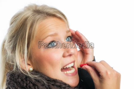 ill blond woman with medication