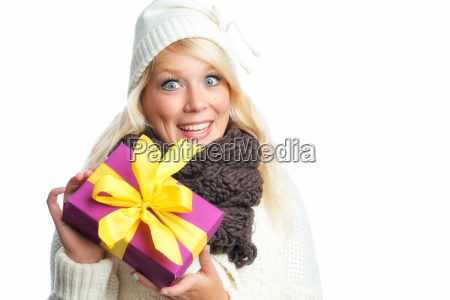 blonde woman with gift