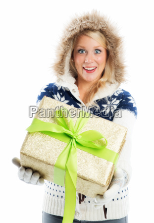 blond woman with present