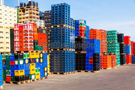 stacked crates with returnable bottles in
