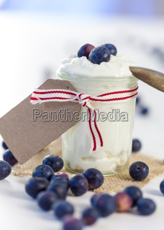 glass with yogurt and fresh blueberries