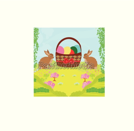 greeting card with easter rabbits and