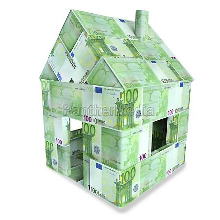 house from 100 euroscheinen