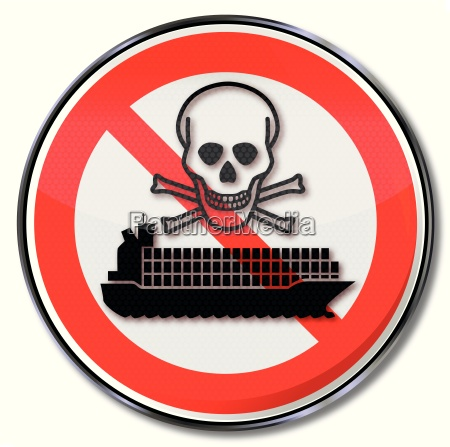 prohibition sign for container ship with