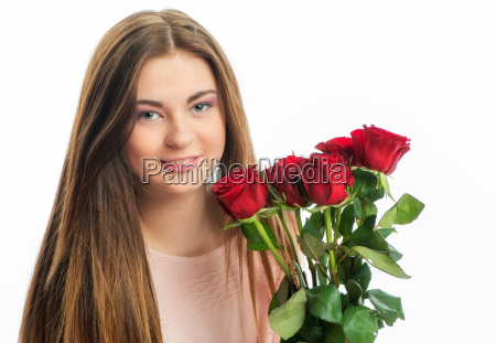 teenager with roses