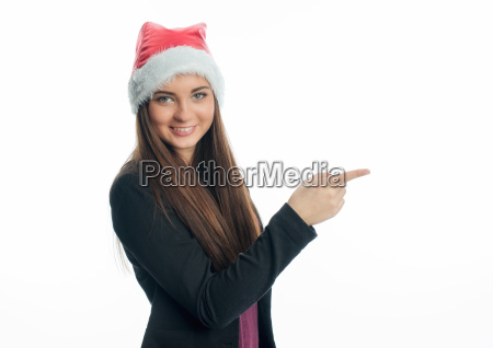 christmas woman pointing at something