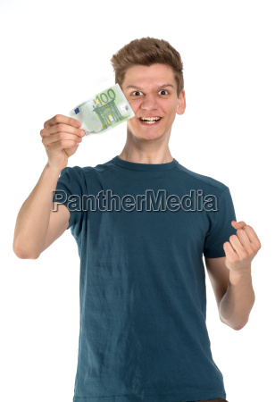 young man holding 100 euro note