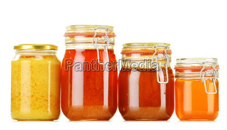composition with jar of honey isolated