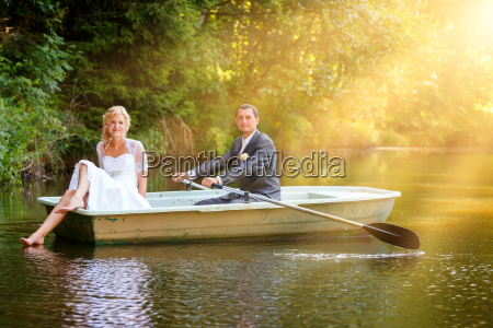 young just married bride and groom
