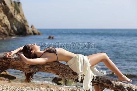 sunbather beautiful woman sunbathing on the