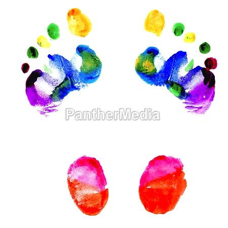 footprints of feet painted in various