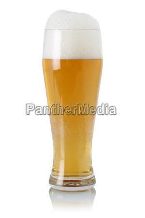 beer in glass with froth