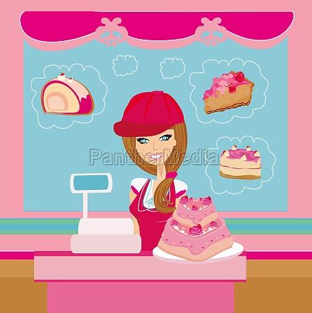 bakery store saleswoman serving large