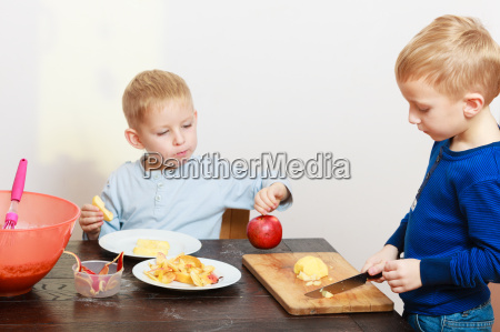 blond boys children kids with kitchen
