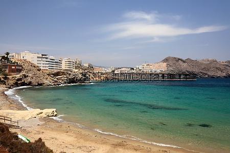 beach in mediterranean town aguilas province