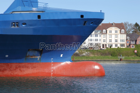 bulbous bow of a container ship