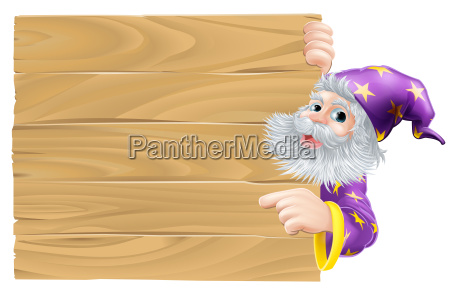 cartoon wizard pointing sign