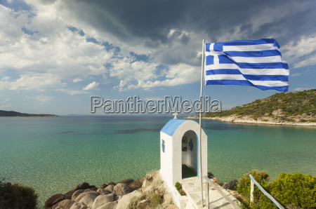small greek chapel and the sea