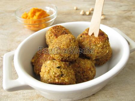 falafel balls with carrot dip