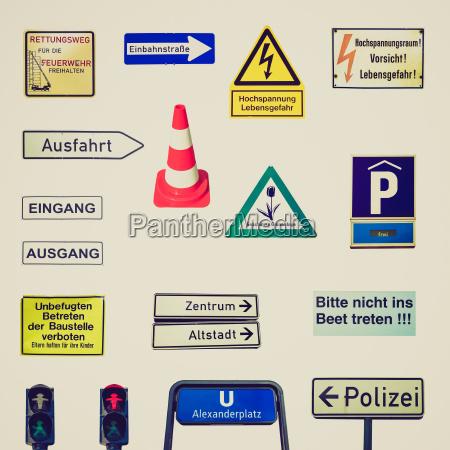 retro look german signs