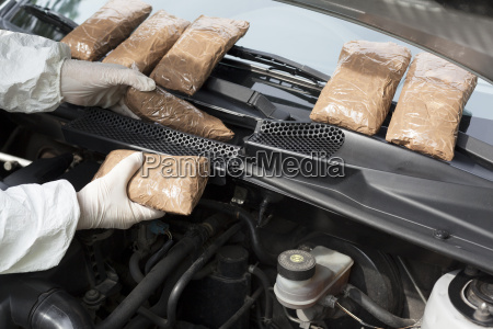 drug smuggled in a cars engine