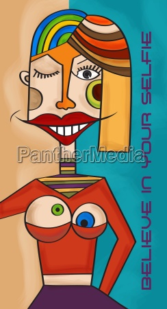 believe in your selfie fun cubist