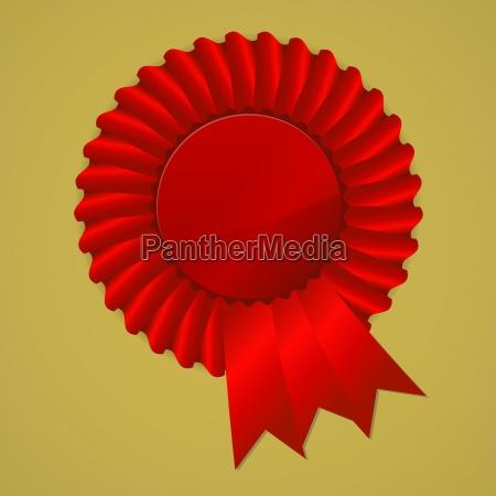 red award ribbon rosette on gold